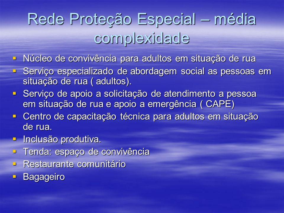 Rede Proteção Especial – média complexidade Núcleo de convivência para adultos em situação de rua Núcleo de convivência para adultos em situação de rua Serviço especializado de abordagem social as pessoas em situação de rua ( adultos).