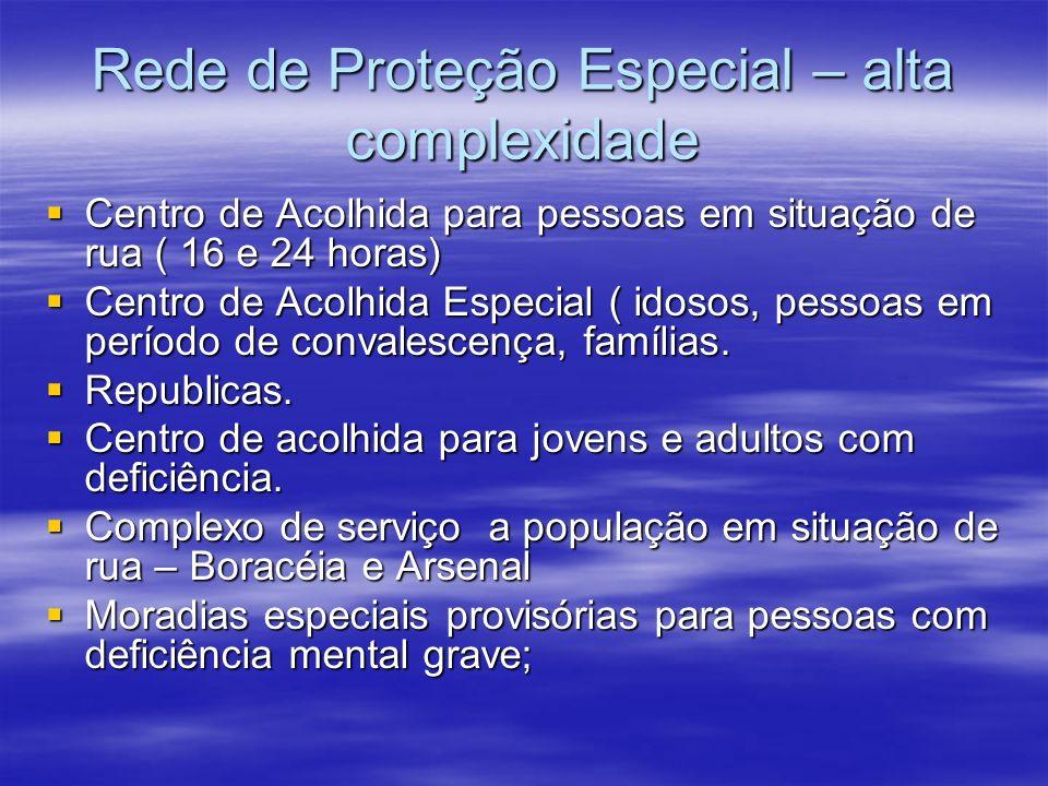 Rede de Proteção Especial – alta complexidade Centro de Acolhida para pessoas em situação de rua ( 16 e 24 horas) Centro de Acolhida para pessoas em s