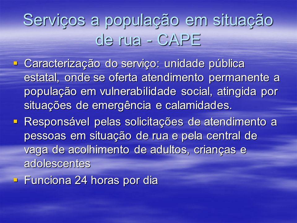 Serviços a população em situação de rua - CAPE Caracterização do serviço: unidade pública estatal, onde se oferta atendimento permanente a população em vulnerabilidade social, atingida por situações de emergência e calamidades.