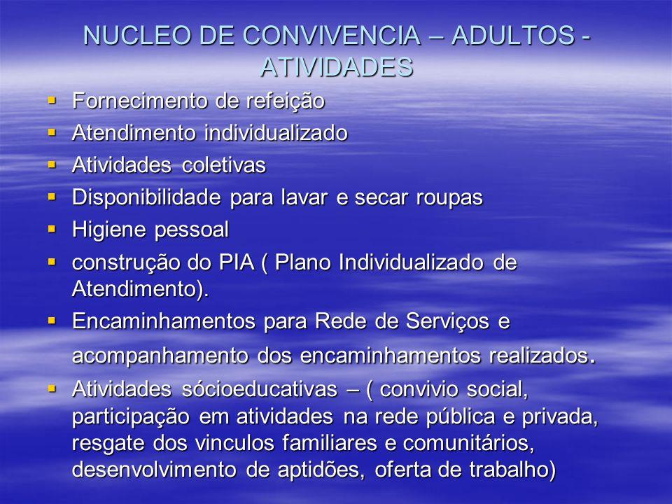 NUCLEO DE CONVIVENCIA – ADULTOS - ATIVIDADES Fornecimento de refeição Fornecimento de refeição Atendimento individualizado Atendimento individualizado