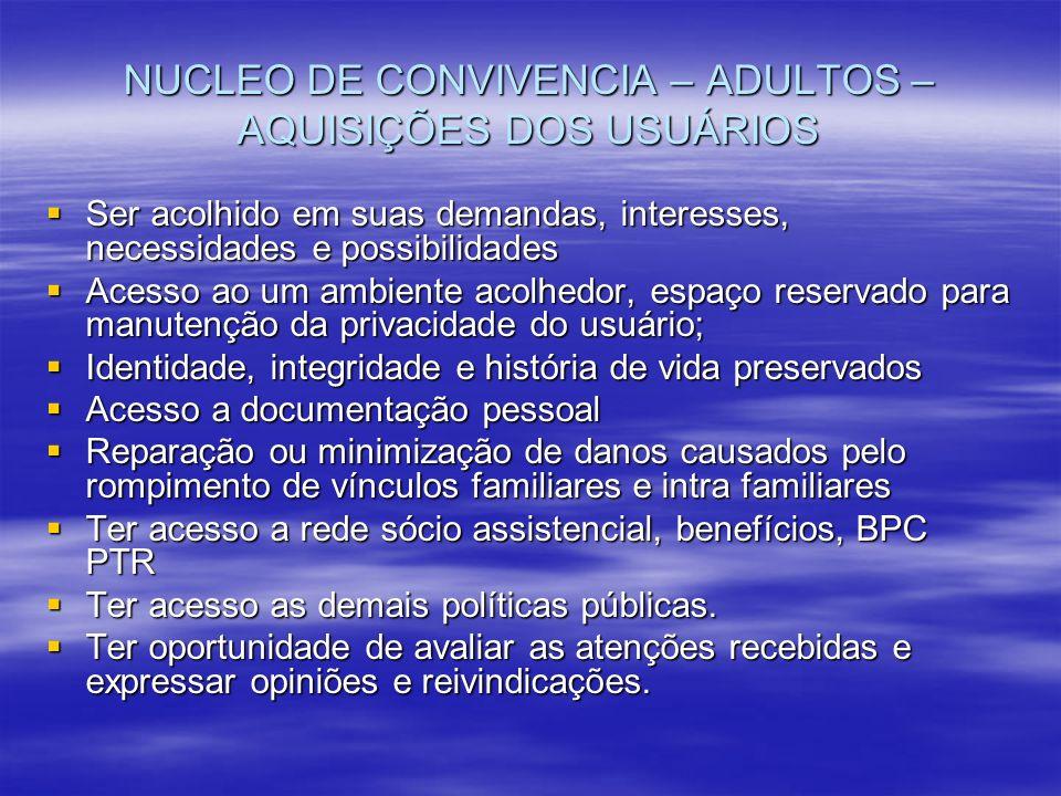 NUCLEO DE CONVIVENCIA – ADULTOS – AQUISIÇÕES DOS USUÁRIOS Ser acolhido em suas demandas, interesses, necessidades e possibilidades Ser acolhido em sua