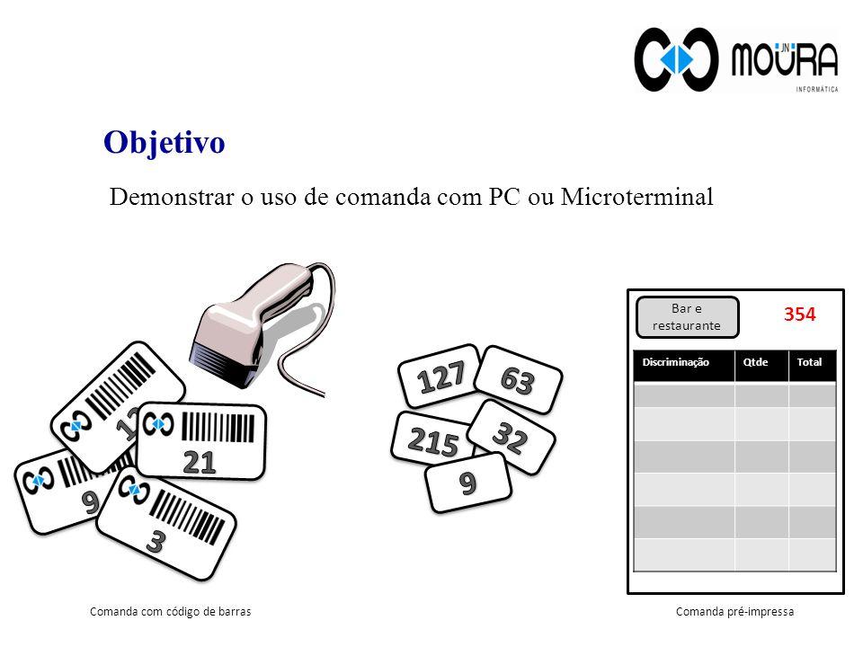 Objetivo Demonstrar o uso de comanda com PC ou Microterminal Bar e restaurante 354 DiscriminaçãoQtdeTotal Comanda com código de barrasComanda pré-impressa