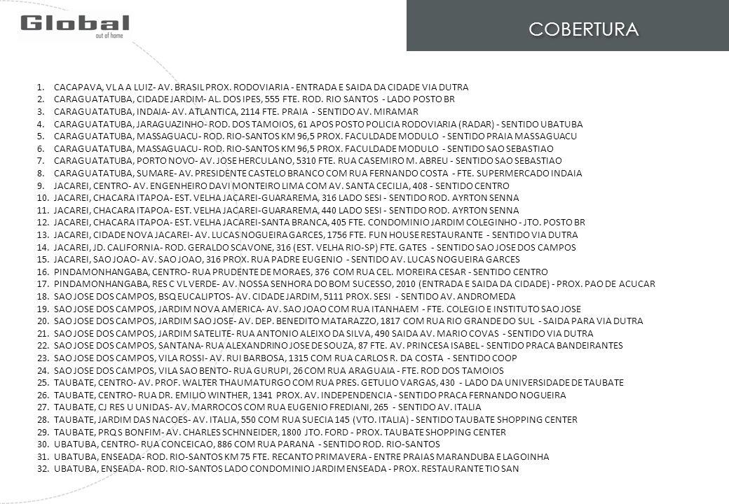 COBERTURA 1.CACAPAVA, VL A A LUIZ- AV. BRASIL PROX. RODOVIARIA - ENTRADA E SAIDA DA CIDADE VIA DUTRA 2.CARAGUATATUBA, CIDADE JARDIM- AL. DOS IPES, 555