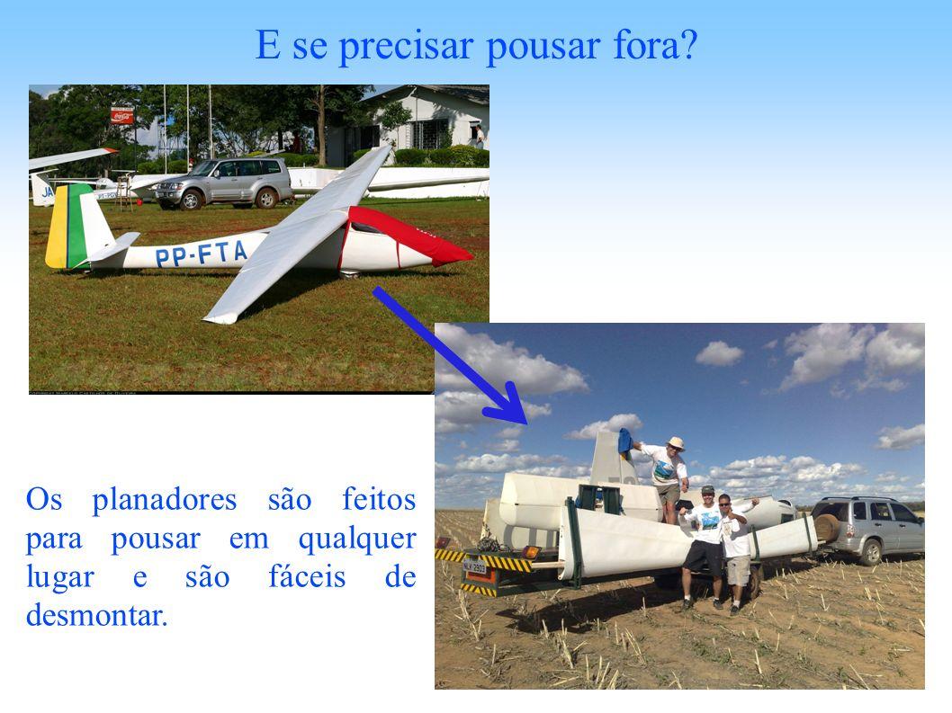 E se precisar pousar fora? Os planadores são feitos para pousar em qualquer lugar e são fáceis de desmontar.