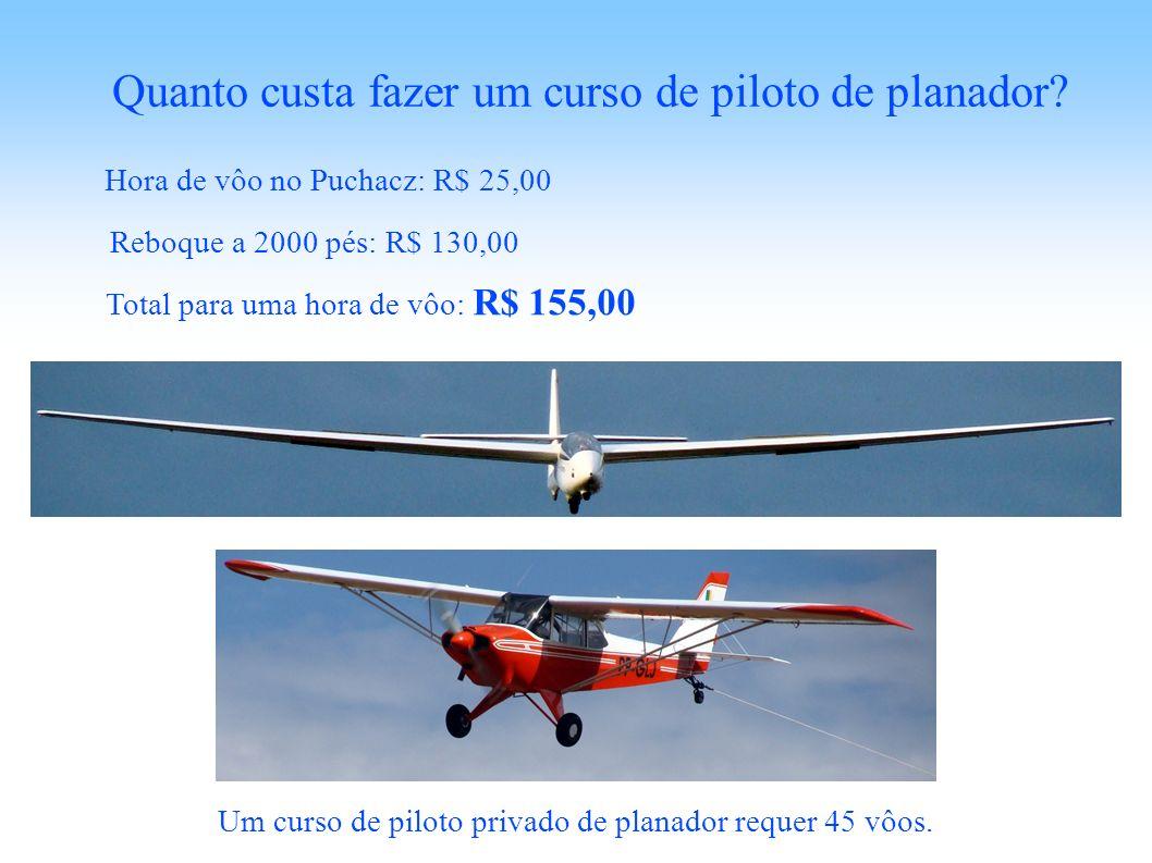 Hora de vôo no Puchacz: R$ 25,00 Quanto custa fazer um curso de piloto de planador? Reboque a 2000 pés: R$ 130,00 Total para uma hora de vôo: R$ 155,0