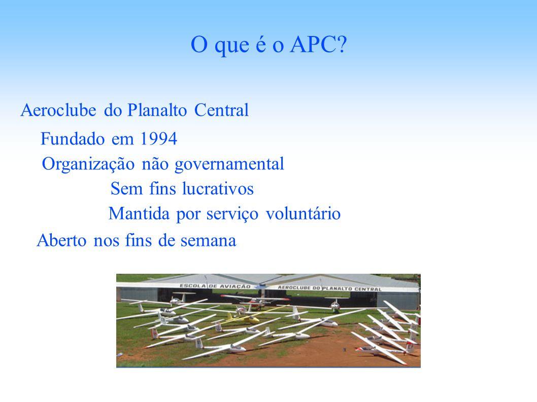 Aeroclube do Planalto Central O que é o APC? Sem fins lucrativos Mantida por serviço voluntário Aberto nos fins de semana Fundado em 1994 Organização