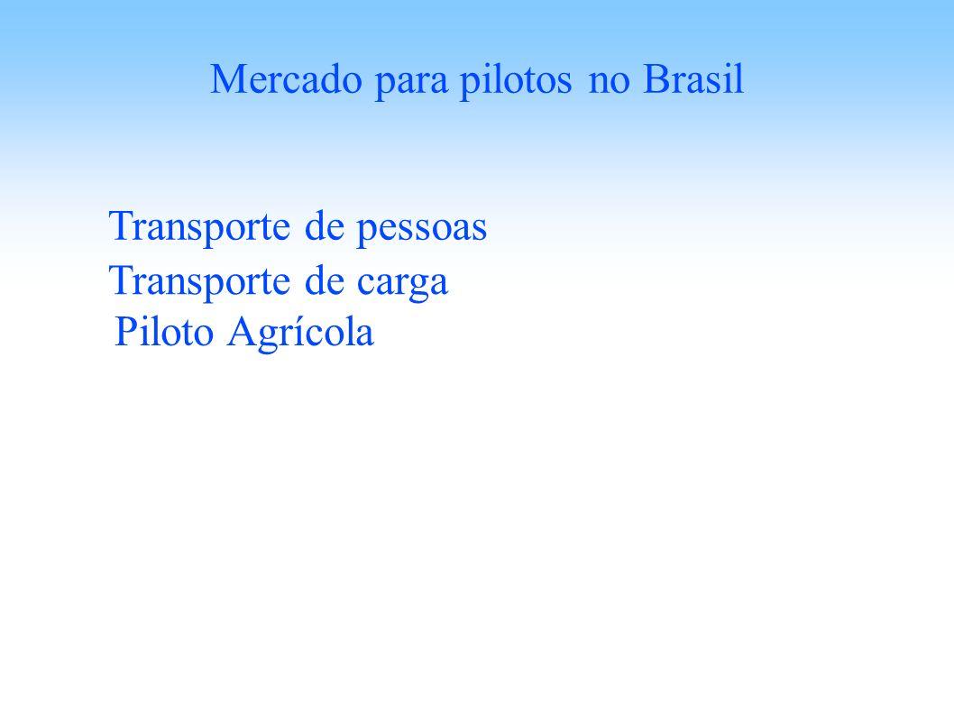 Mercado para pilotos no Brasil Transporte de pessoas Transporte de carga Piloto Agrícola