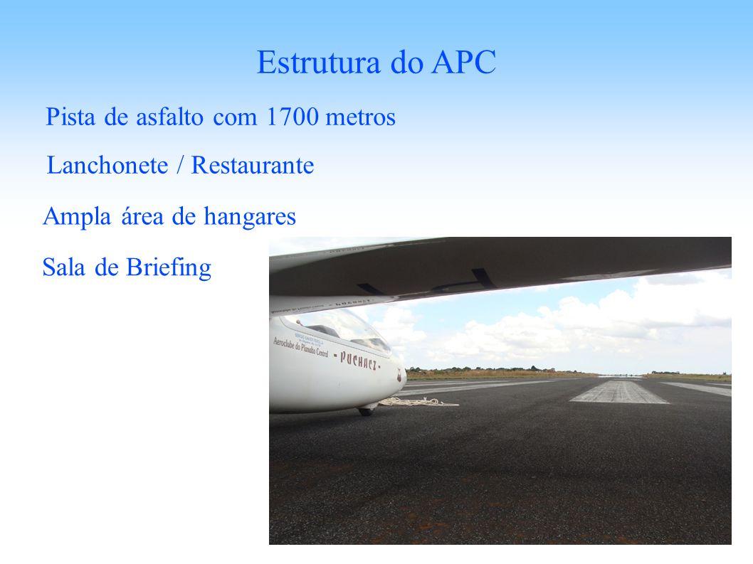 Pista de asfalto com 1700 metros Estrutura do APC Lanchonete / Restaurante Sala de Briefing Ampla área de hangares