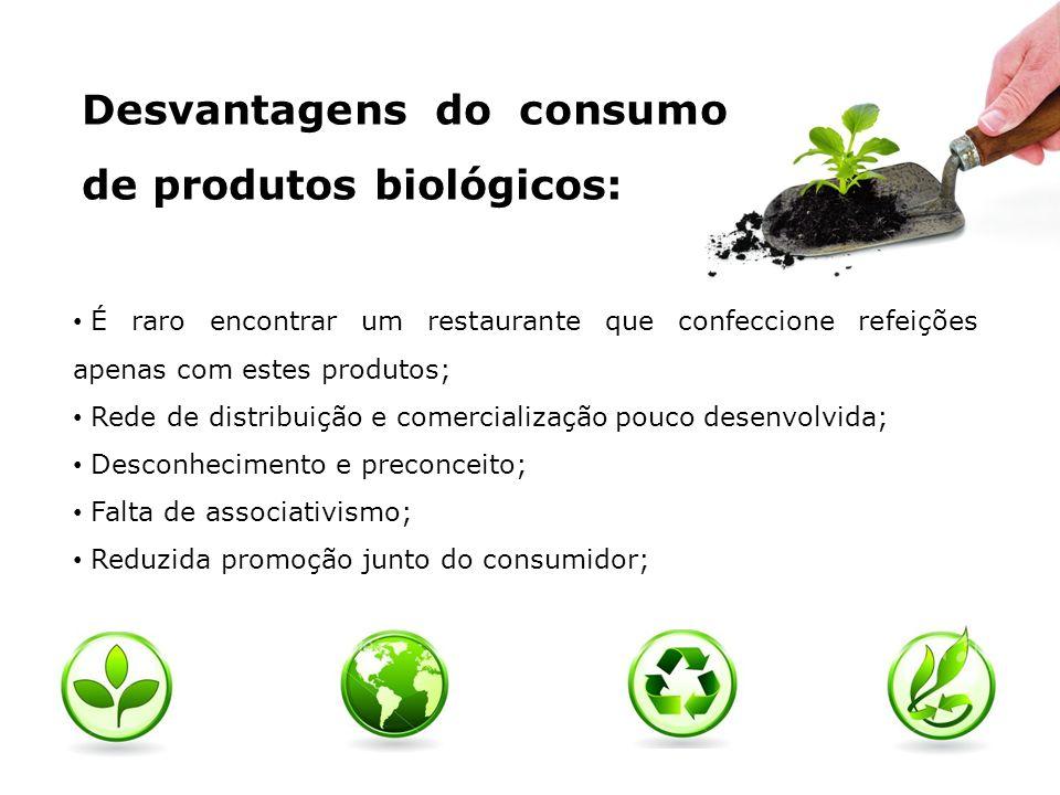 Desvantagens do consumo de produtos biológicos: É raro encontrar um restaurante que confeccione refeições apenas com estes produtos; Rede de distribui