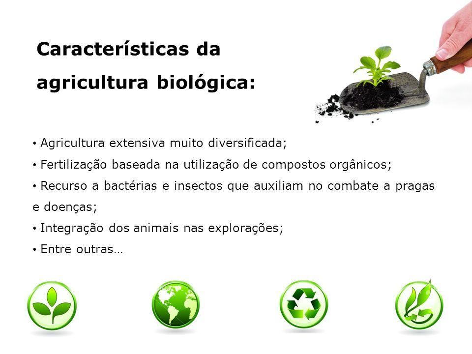 Características da agricultura biológica: Agricultura extensiva muito diversificada; Fertilização baseada na utilização de compostos orgânicos; Recurs