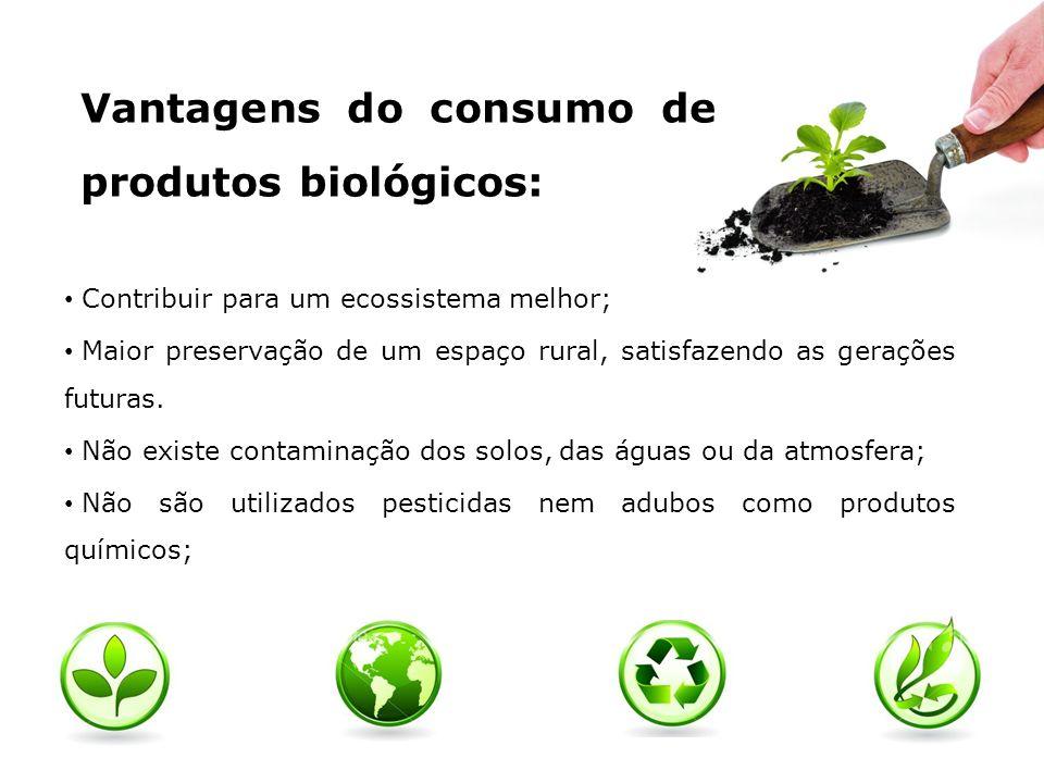 Vantagens do consumo de produtos biológicos: São cultivados em solos equilibrados; São utilizados fertilizantes naturais; Melhor qualidade quanto ao teor de vitaminas, minerais, hidratos de carbono e proteínas; Uma mais-valia para o desenvolvimento agrícola local e regional; Entre outras…
