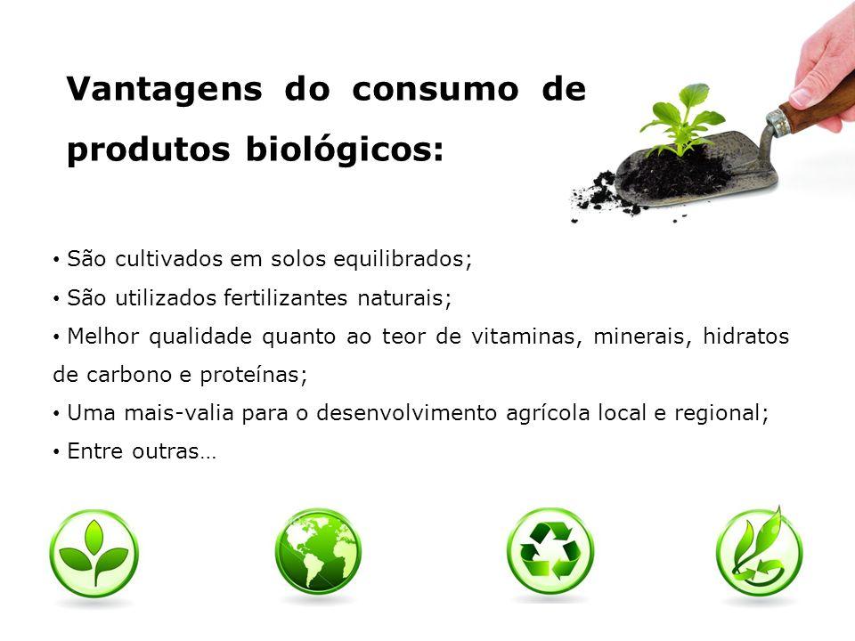 Vantagens do consumo de produtos biológicos: São cultivados em solos equilibrados; São utilizados fertilizantes naturais; Melhor qualidade quanto ao t