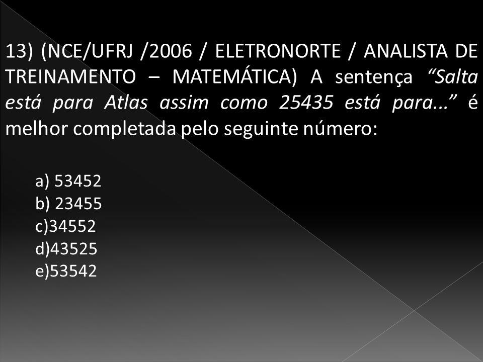 13) (NCE/UFRJ /2006 / ELETRONORTE / ANALISTA DE TREINAMENTO – MATEMÁTICA) A sentença Salta está para Atlas assim como 25435 está para...