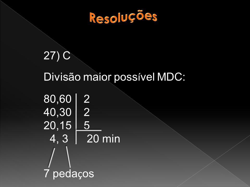 27) C Divisão maior poss í vel MDC: 80,60 2 40,30 2 20,15 5 4, 3 20 min 7 peda ç os