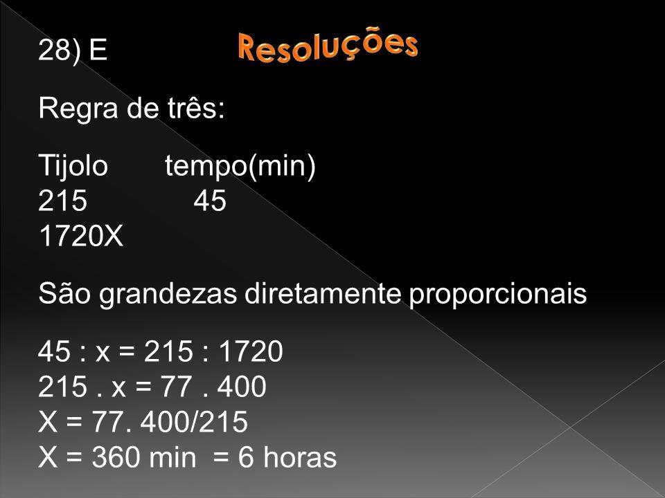 28) E Regra de três: Tijolo tempo(min) 215 45 1720X São grandezas diretamente proporcionais 45 : x = 215 : 1720 215.