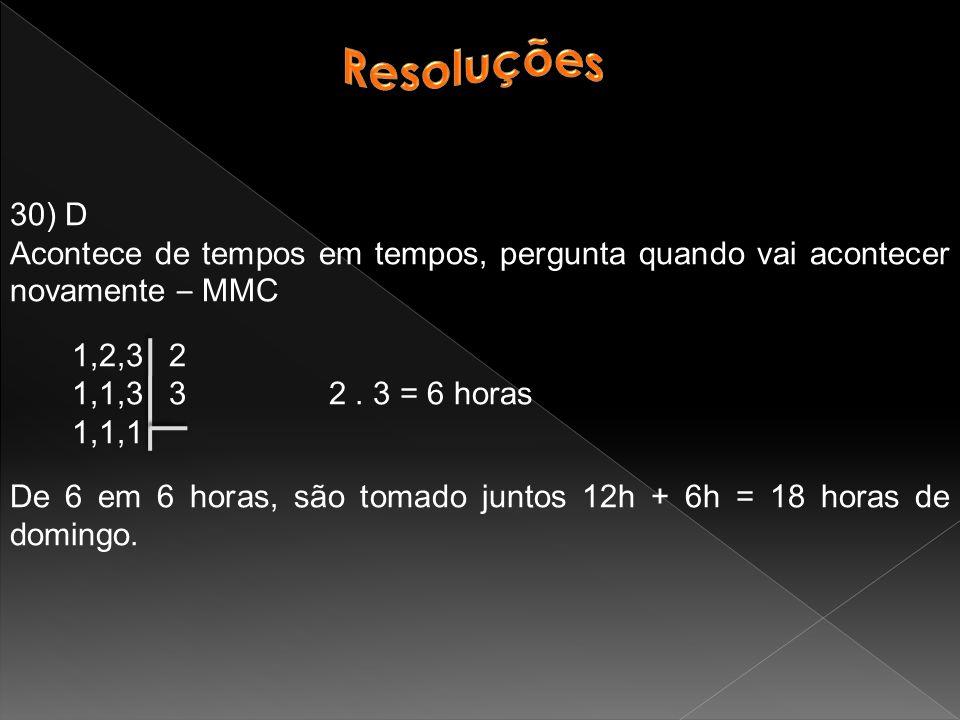30) D Acontece de tempos em tempos, pergunta quando vai acontecer novamente – MMC 1,2,3 2 1,1,3 3 2.