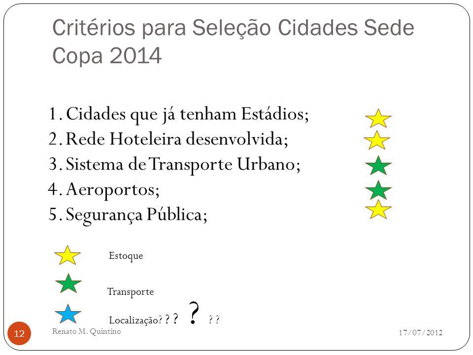 Critérios para Seleção Cidades Sede Copa 2014 17/07/2012 Renato M.