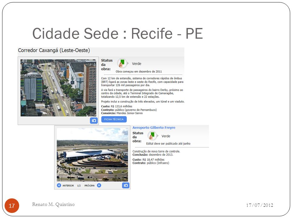 Cidade Sede : Natal - RN 17/07/2012 Renato M. Quintino 16
