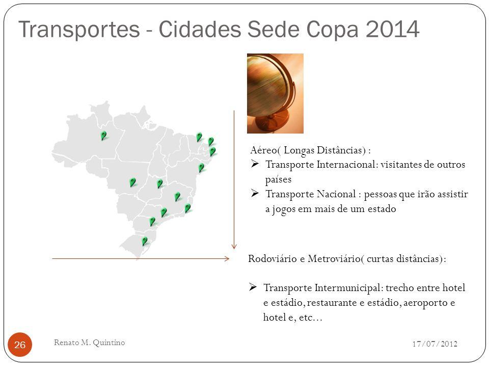 Localização - Cidades Sede Copa 2014 17/07/2012 Renato M.