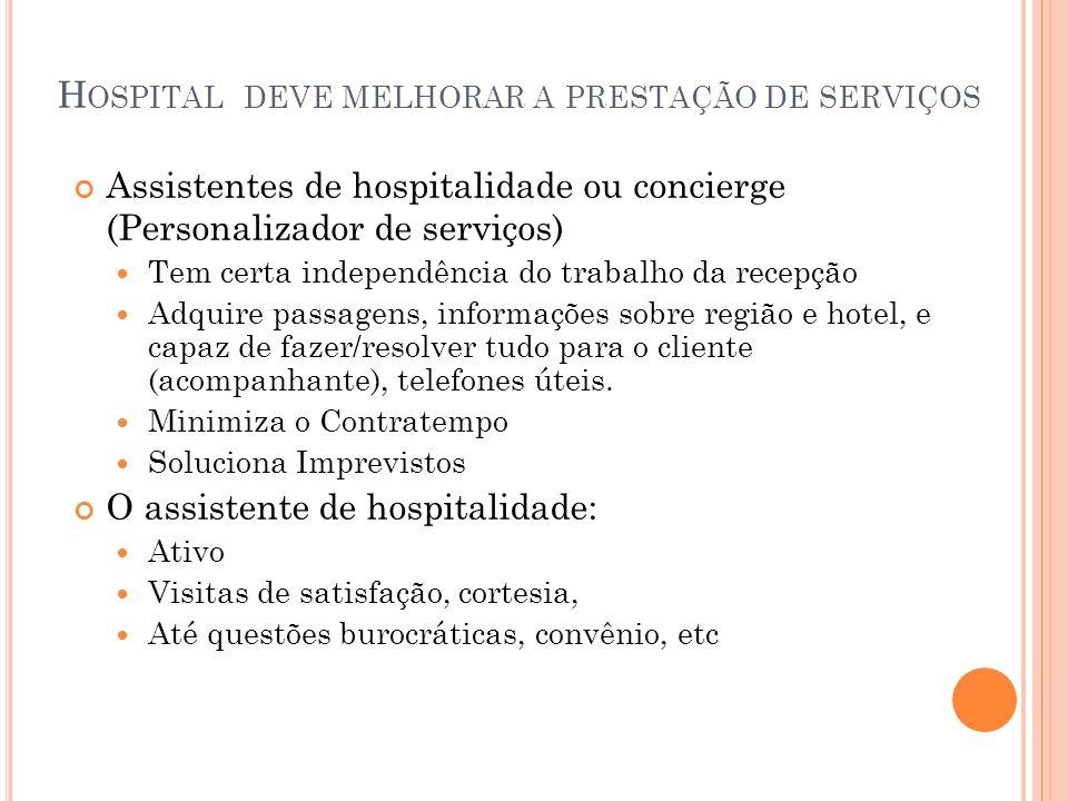 H OSPITAL DEVE MELHORAR A PRESTAÇÃO DE SERVIÇOS Assistentes de hospitalidade ou concierge (Personalizador de serviços) Tem certa independência do trab