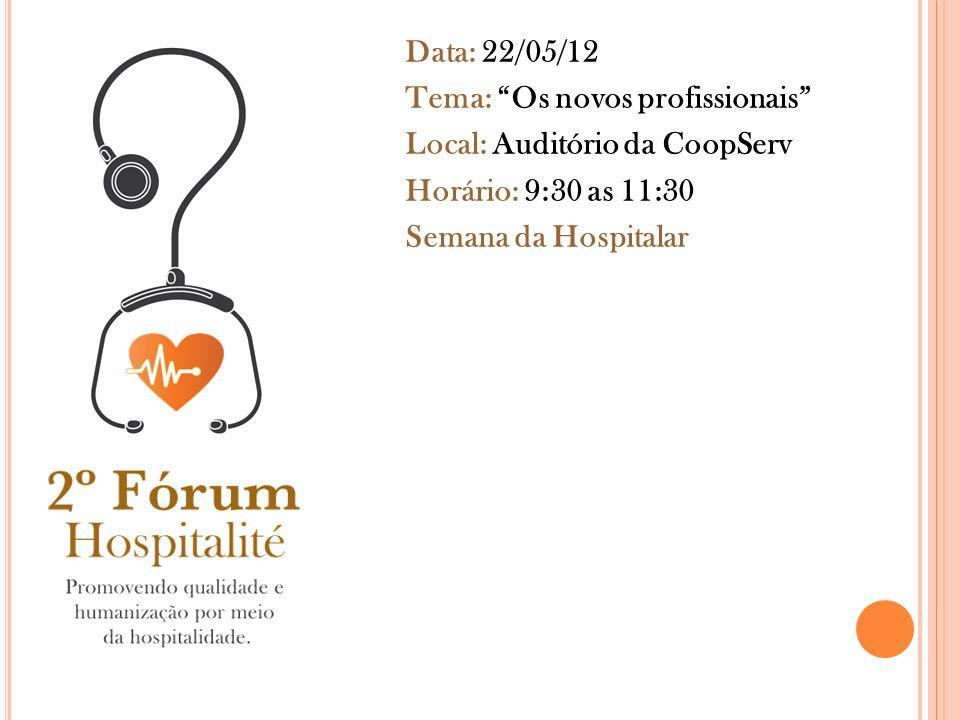 Data: 22/05/12 Tema: Os novos profissionais Local: Auditório da CoopServ Horário: 9:30 as 11:30 Semana da Hospitalar