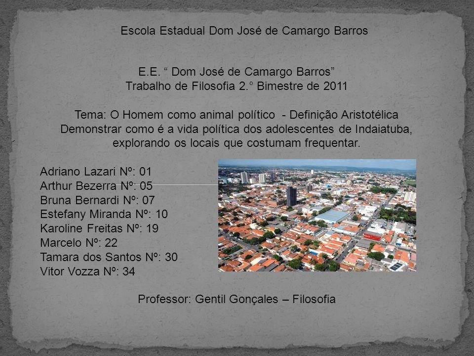 Escola Estadual Dom José de Camargo Barros E.E. Dom José de Camargo Barros Trabalho de Filosofia 2.° Bimestre de 2011 Tema: O Homem como animal políti