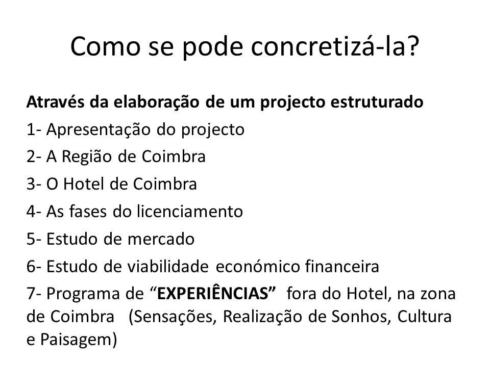 Como se pode concretizá-la? Através da elaboração de um projecto estruturado 1- Apresentação do projecto 2- A Região de Coimbra 3- O Hotel de Coimbra