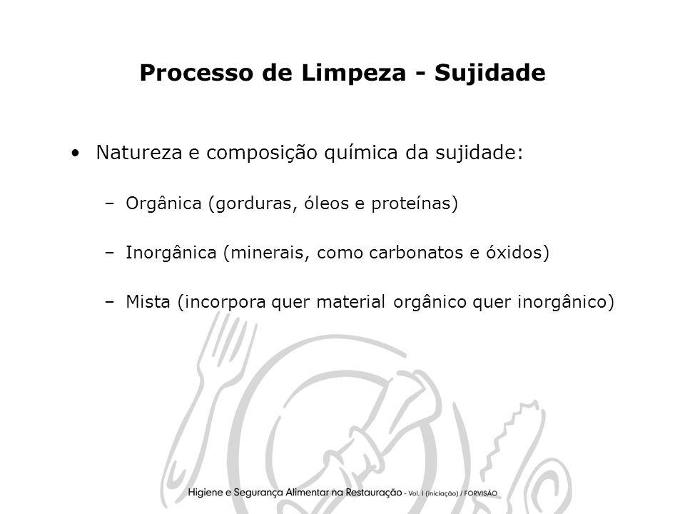 5 Processo de Limpeza - Sujidade Natureza e composição química da sujidade: –Orgânica (gorduras, óleos e proteínas) –Inorgânica (minerais, como carbonatos e óxidos) –Mista (incorpora quer material orgânico quer inorgânico)