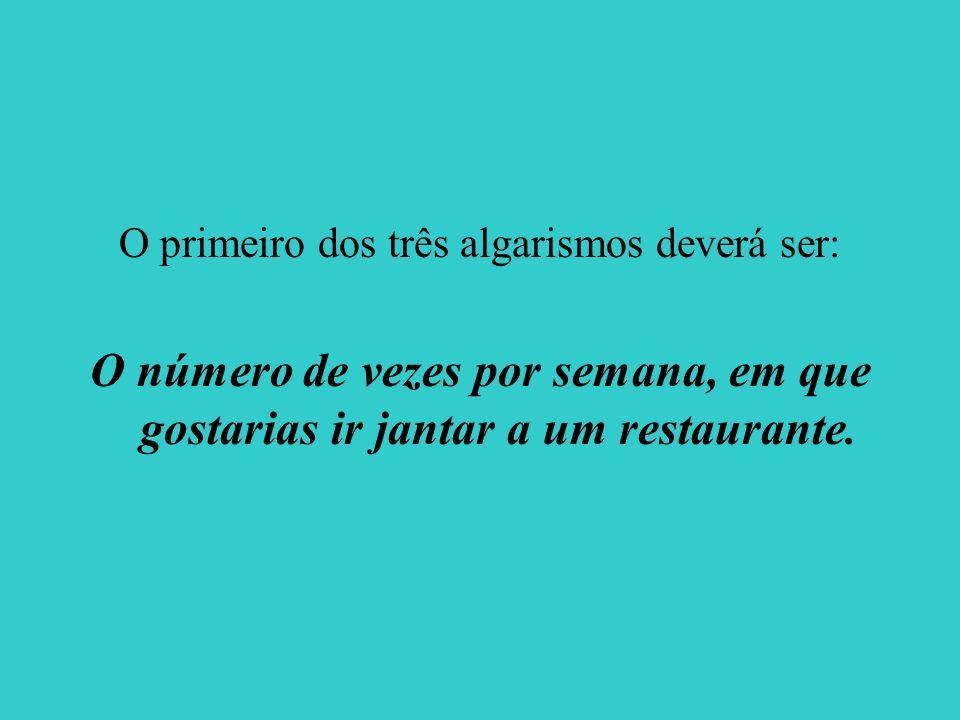 O primeiro dos três algarismos deverá ser: O número de vezes por semana, em que gostarias ir jantar a um restaurante.