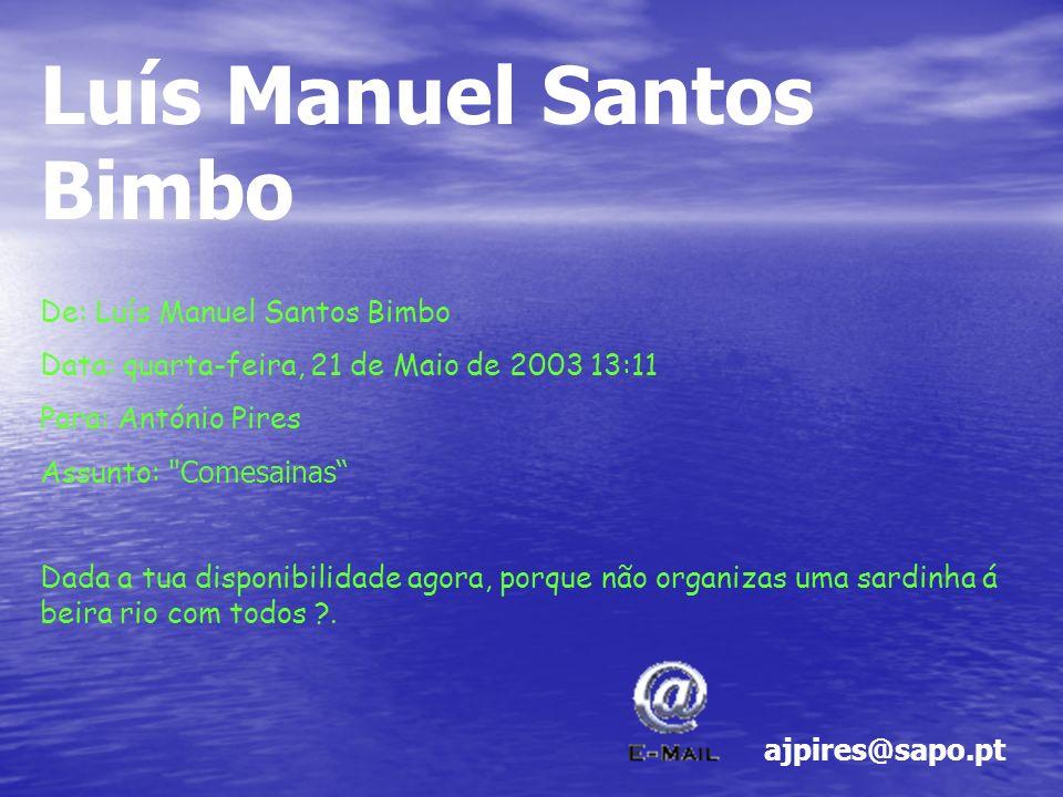 Luís Manuel Santos Bimbo De: Luís Manuel Santos Bimbo Data: quarta-feira, 21 de Maio de 2003 13:11 Para: António Pires Assunto: