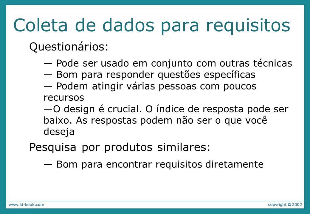 Coleta de dados para requisitos Questionários: Pode ser usado em conjunto com outras técnicas Bom para responder questões específicas Podem atingir várias pessoas com poucos recursos O design é crucial.