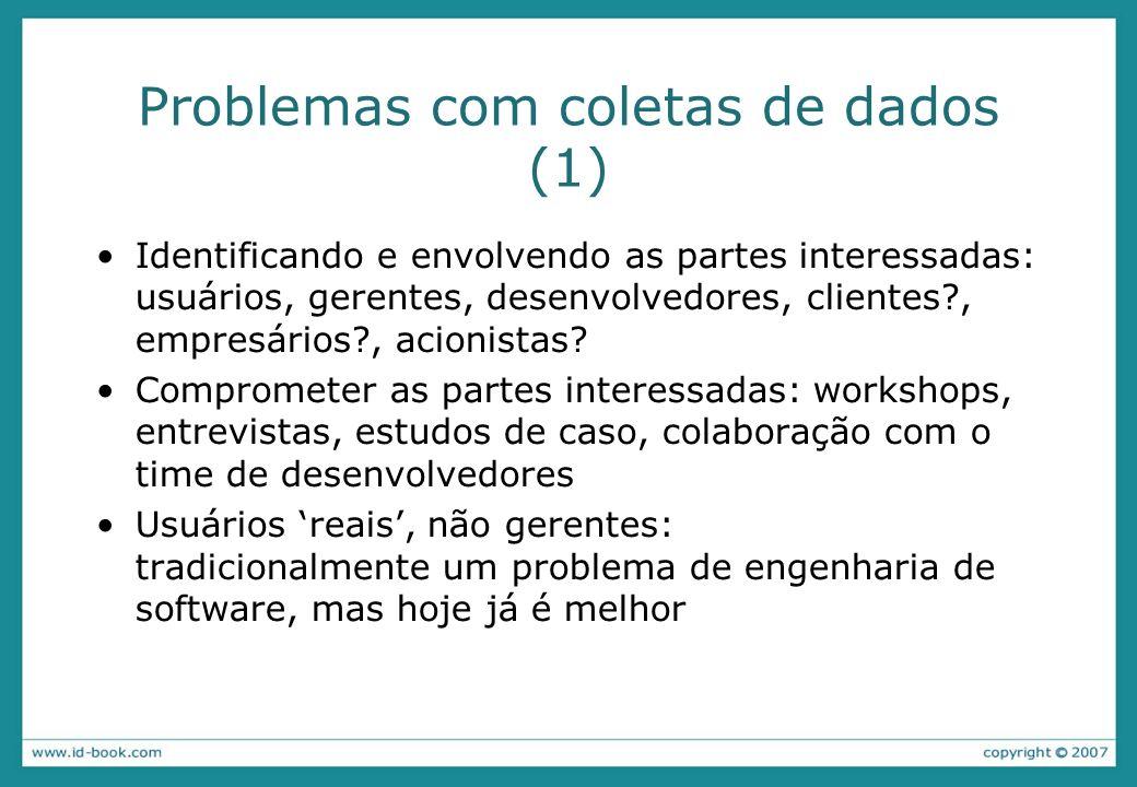 Problemas com coletas de dados (1) Identificando e envolvendo as partes interessadas: usuários, gerentes, desenvolvedores, clientes?, empresários?, acionistas.