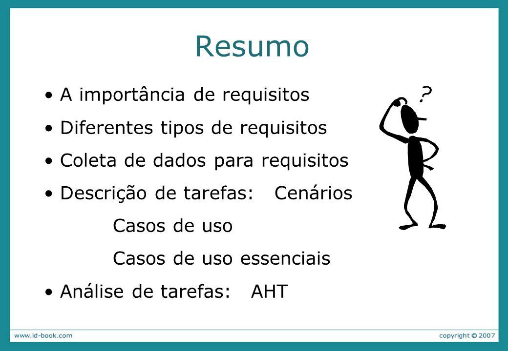 Resumo A importância de requisitos Diferentes tipos de requisitos Coleta de dados para requisitos Descrição de tarefas:Cenários Casos de uso Casos de uso essenciais Análise de tarefas: AHT