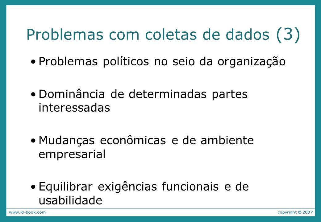 Problemas com coletas de dados (3) Problemas políticos no seio da organização Dominância de determinadas partes interessadas Mudanças econômicas e de ambiente empresarial Equilibrar exigências funcionais e de usabilidade