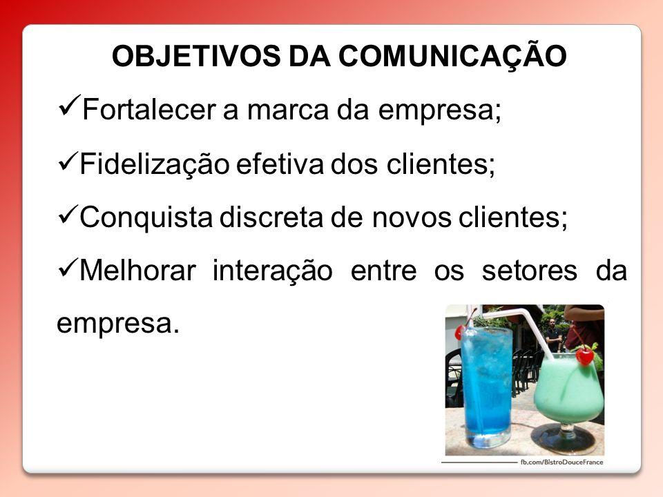 OBJETIVOS DA COMUNICAÇÃO Fortalecer a marca da empresa; Fidelização efetiva dos clientes; Conquista discreta de novos clientes; Melhorar interação ent