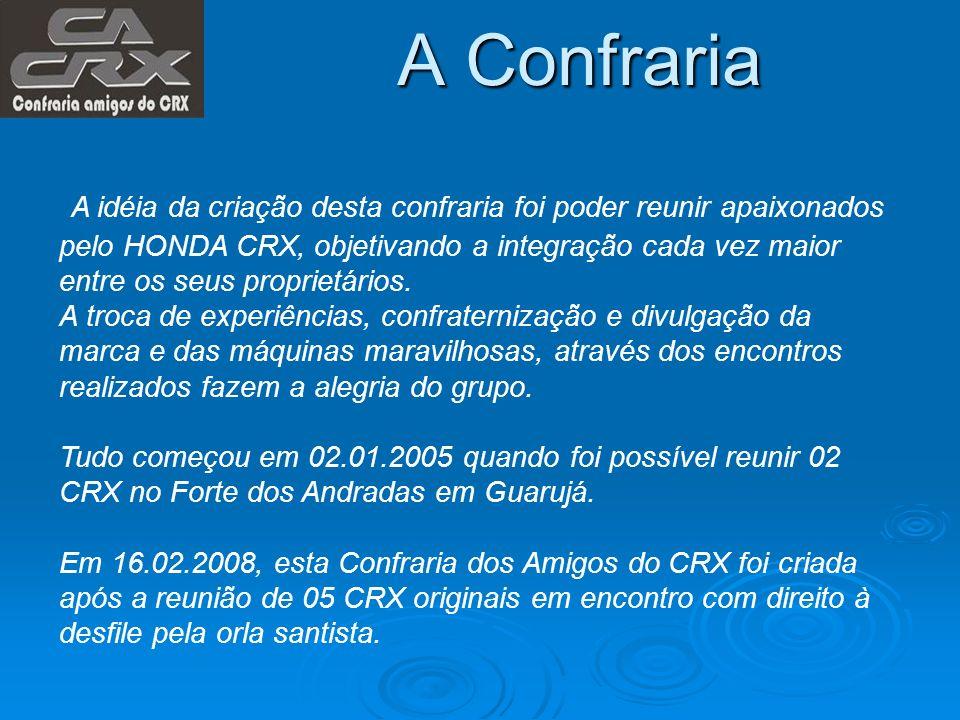 A Confraria A idéia da criação desta confraria foi poder reunir apaixonados pelo HONDA CRX, objetivando a integração cada vez maior entre os seus prop