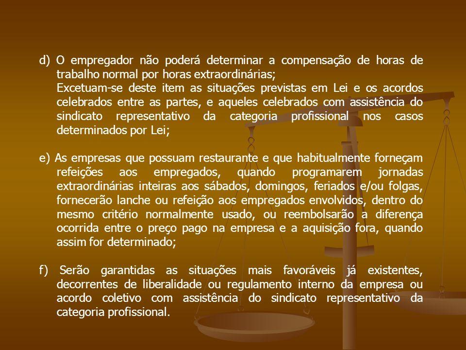 d) O empregador não poderá determinar a compensação de horas de trabalho normal por horas extraordinárias; Excetuam-se deste item as situações previst