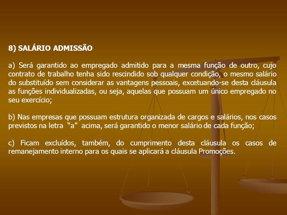 8) SALÁRIO ADMISSÃO a) Será garantido ao empregado admitido para a mesma função de outro, cujo contrato de trabalho tenha sido rescindido sob qualquer