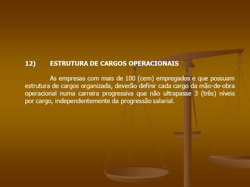 12)ESTRUTURA DE CARGOS OPERACIONAIS As empresas com mais de 100 (cem) empregados e que possuam estrutura de cargos organizada, deverão definir cada ca
