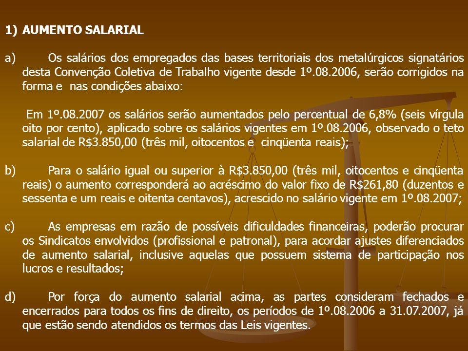 1)AUMENTO SALARIAL a) Os salários dos empregados das bases territoriais dos metalúrgicos signatários desta Convenção Coletiva de Trabalho vigente desd