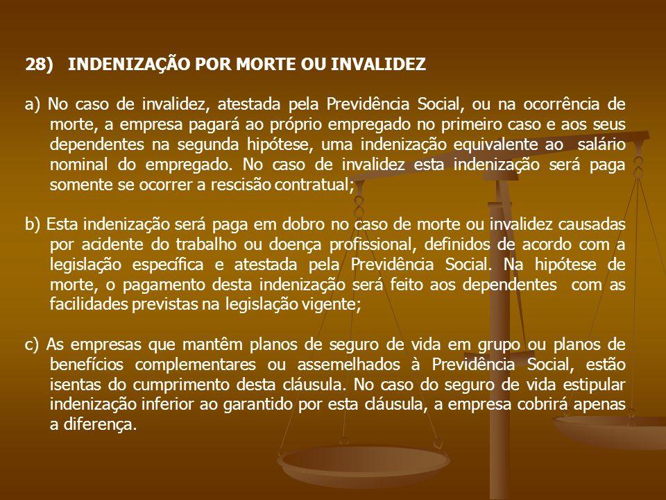 28) INDENIZAÇÃO POR MORTE OU INVALIDEZ a) No caso de invalidez, atestada pela Previdência Social, ou na ocorrência de morte, a empresa pagará ao própr