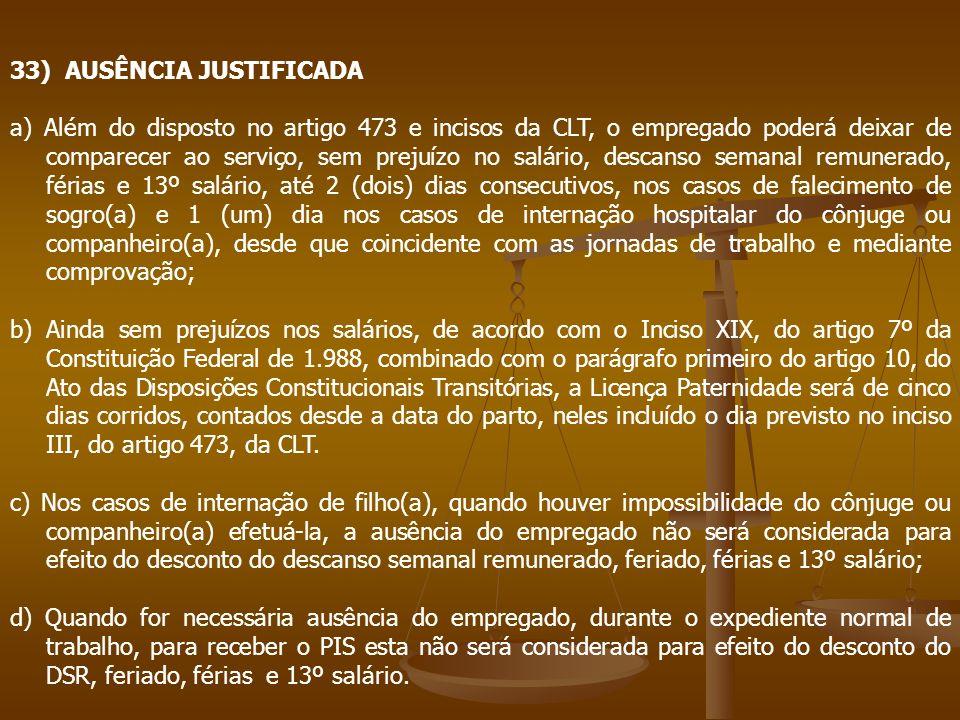 33) AUSÊNCIA JUSTIFICADA a) Além do disposto no artigo 473 e incisos da CLT, o empregado poderá deixar de comparecer ao serviço, sem prejuízo no salár