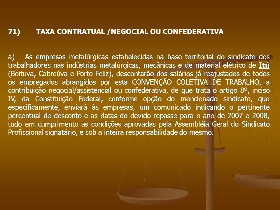 71)TAXA CONTRATUAL /NEGOCIAL OU CONFEDERATIVA a) As empresas metalúrgicas estabelecidas na base territorial do sindicato dos trabalhadores nas indústr