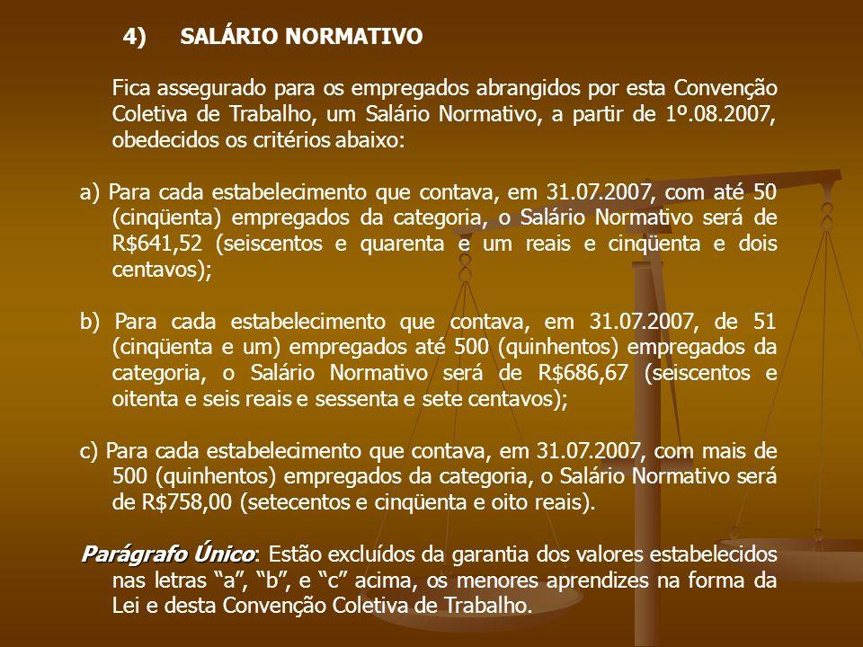 4) SALÁRIO NORMATIVO Fica assegurado para os empregados abrangidos por esta Convenção Coletiva de Trabalho, um Salário Normativo, a partir de 1º.08.20