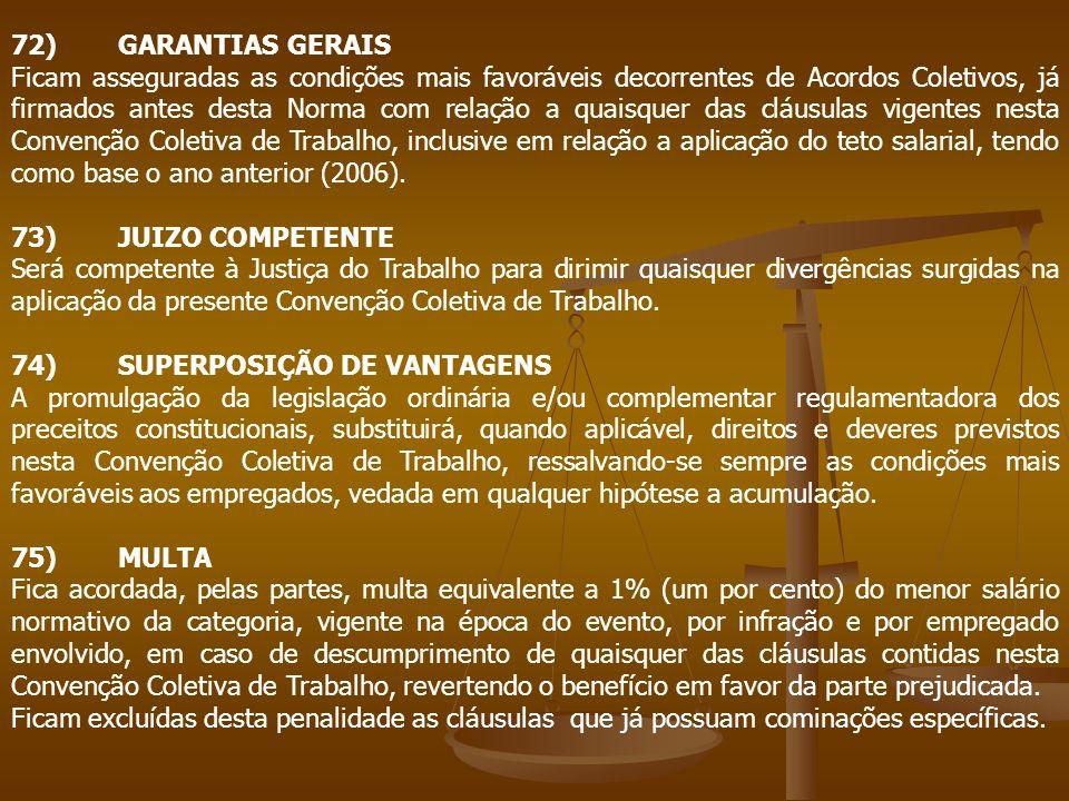 72)GARANTIAS GERAIS Ficam asseguradas as condições mais favoráveis decorrentes de Acordos Coletivos, já firmados antes desta Norma com relação a quais