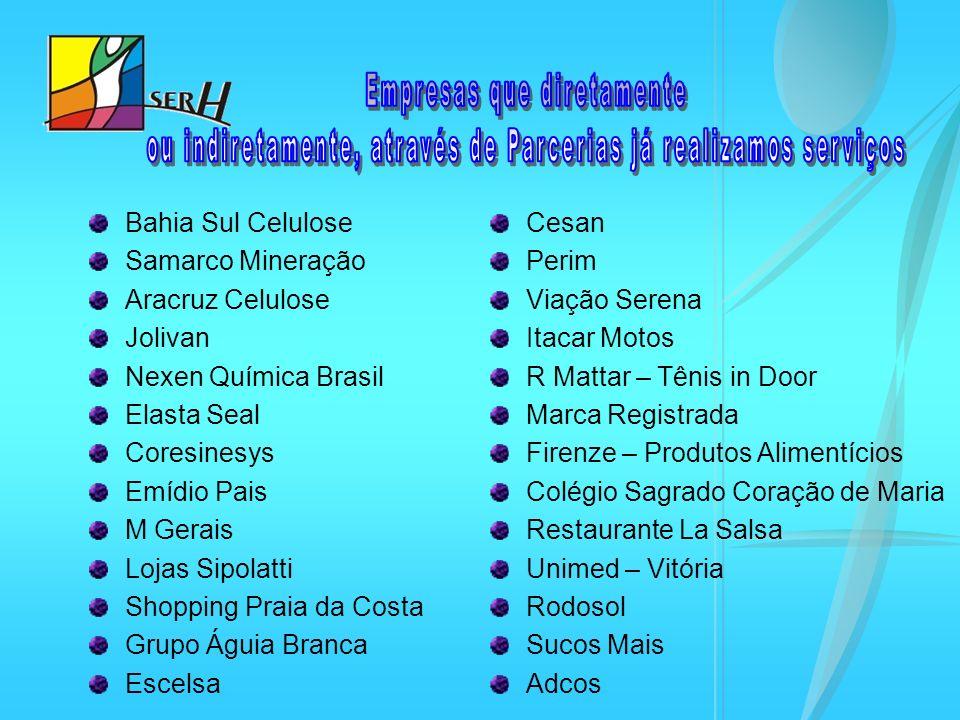 Bahia Sul Celulose Samarco Mineração Aracruz Celulose Jolivan Nexen Química Brasil Elasta Seal Coresinesys Emídio Pais M Gerais Lojas Sipolatti Shoppi