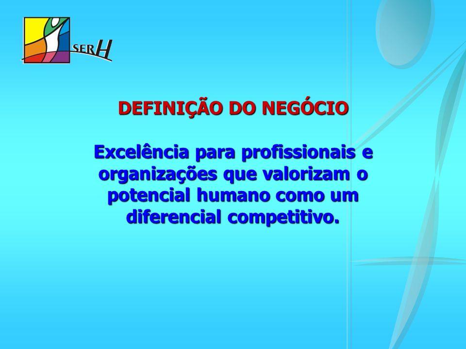 DEFINIÇÃO DO NEGÓCIO Excelência para profissionais e organizações que valorizam o potencial humano como um diferencial competitivo.