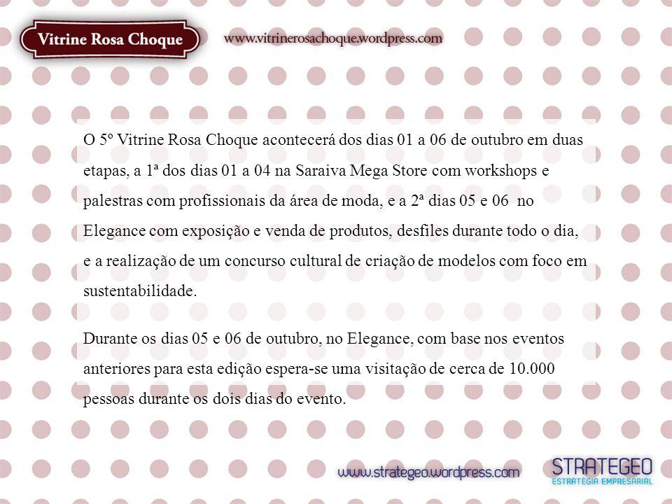 O 5º Vitrine Rosa Choque acontecerá dos dias 01 a 06 de outubro em duas etapas, a 1ª dos dias 01 a 04 na Saraiva Mega Store com workshops e palestras