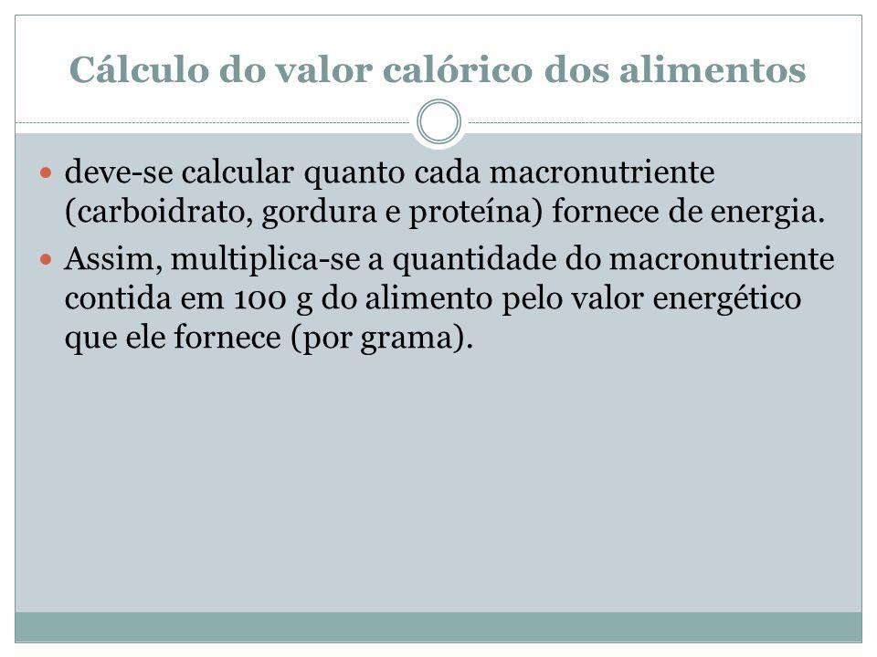 Cálculo do valor calórico dos alimentos deve-se calcular quanto cada macronutriente (carboidrato, gordura e proteína) fornece de energia.