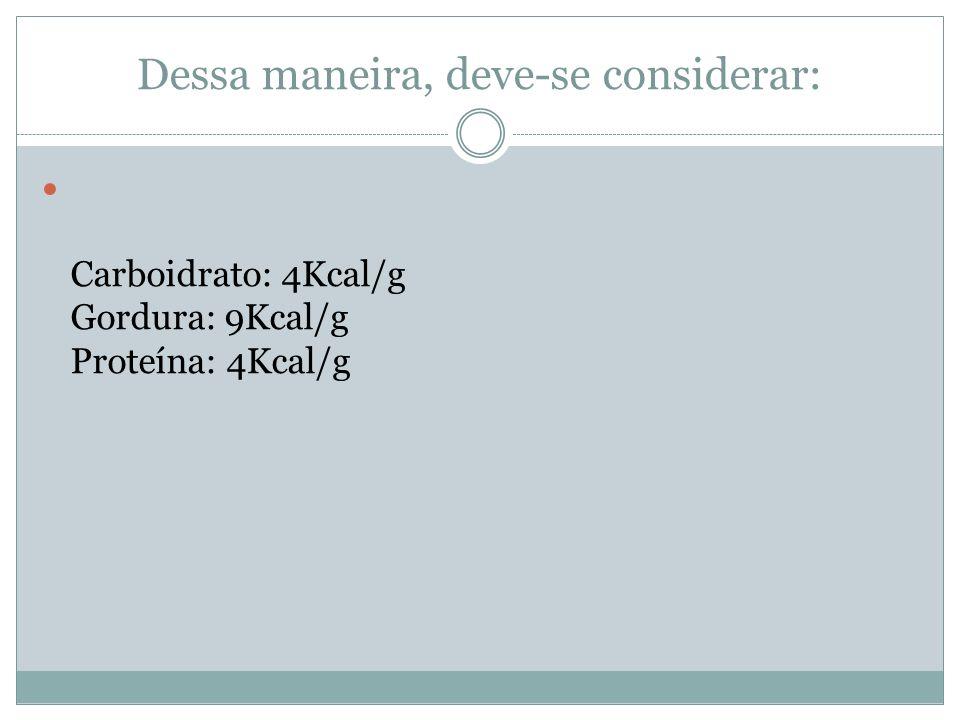 Dessa maneira, deve-se considerar: Carboidrato: 4Kcal/g Gordura: 9Kcal/g Proteína: 4Kcal/g